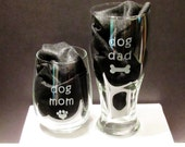 Etched Dog Mom and Dad Glasses
