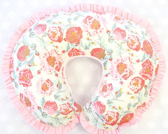 Felicity's Vintage Floral    Pink & Aqua Ruffled Nursing Pillow Cover