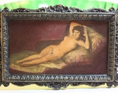 Dollhouse Miniature Signed Leeds Reproduction of The Nude Maja by Goya (1/12 Scale)