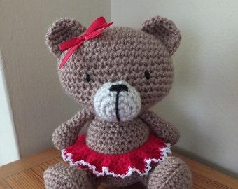 Handmade Crochet Bear - amigurumi teddy bear with skirt and ribbon by Little Gems Crochet