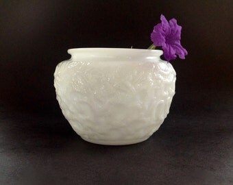 Vintage Milk Glass 1960's Planter - EO Brody 1960's White Glass Planter - Bark Vase