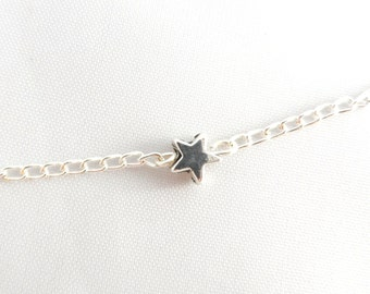 Tiny Star Necklace -  Silver Star Necklace - Tiny Star Pendant - Also Childs Necklace