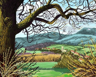 Towards Coxwold, Limited Edition Giclée Print from an original ipad drawing