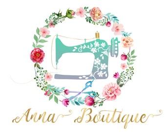 vintage sewing machine logo seamstress logo watercolor flower logo fabric shop logo premade logo design watercolour logo dress designer logo