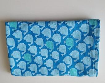 Blue and Aqua Whale Minky Baby Blanket