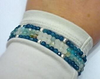 Blue beaded agate and jade bracelet