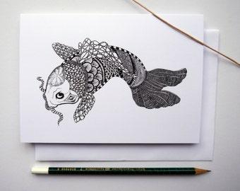 Feeling Koi Illustrated Doodle Greetings Card