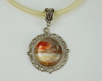 Necklace Jupiter star planet glass cabochon on the blue silk ribbon unique purple jewellery universe Mars Venus