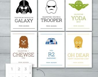 Kids Valentine Cards | Star Wars Valentines  |  Yoda, Darth Vader, R2D2, Chewbacca, Storm Trooper, C3P0 Valentine Cards