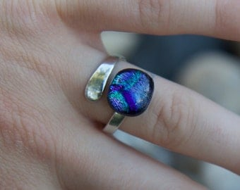 Sparkel Ring dicroic glass adjustable ring