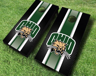 Officially Licensed Ohio Bobcats Striped Cornhole Set with Bags - Bean Bag Toss - Ohio Cornhole - Corn Toss - Corn hole