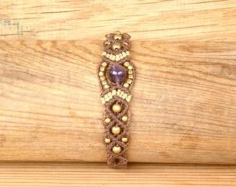 Bracelet Macrame Amethyst Brass Hand Made Micromacrame  Bracelet - Gift for Her - Gift for Him