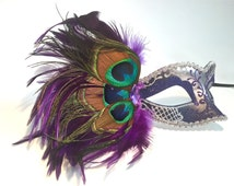 Peacock Feather Masquerade Mask, Glitter mask, New Years Mask, New Years Eve Mask, Feather Masquerade Mask, Half Mask,