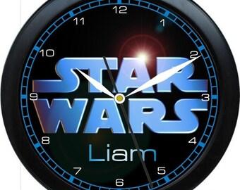 "Star Wars Hero 10"" Wall Clock Personalized Boys Room Decor Wall Art Gift"