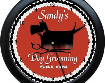 "Dog Grooming Salon 10"" Personalized Wall Clock"
