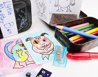 Little Monster Box Kid's Coloring Kit, Altered Altoid Tin Art Box for Children, DIY, Party Favor, Stocking Stuffer, Alien and Monster Lover