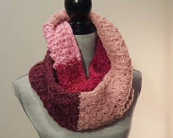 Pink and Purple, Chunky Knit, Infinity Scarf