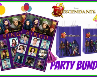Disneys Descendants PARTY Bundle~ Bingo cards and Party bags Printable Instant Download