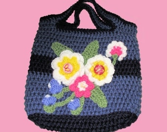 Small Crochet Floral Tote Bag