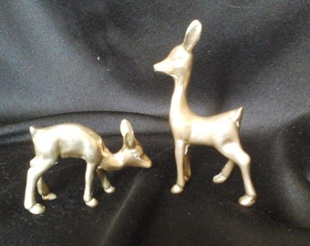 60s Brass Deer, Pair of Small Brass Fawns, 2 Innocent Looking Big Eared Brass Does