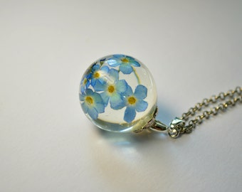 Forget me not necklace Resin jewelry Unique Blue Pendant Gifts for her Resin sphere necklace Blue Flowers Floral Necklace Eco Jewelry