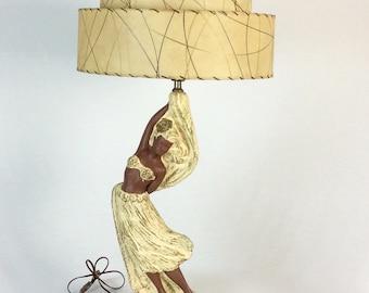 1950s Hawaiian Hula Dancer Lamp with Original Fiberglass Lampshade