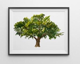 Nature print - Oak print tree watercolor. Oak art. Home wall art.Tree prints