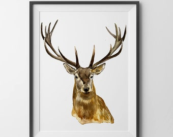 Deer Painting.Deer print.Deer art.Deer decor.Deer art. Digital download