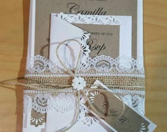 Rustic wedding invitations, shabby invite, kraft invitation,