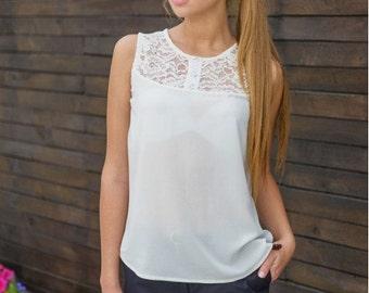 Chiffon white blouse / shirt women  / Guipure white blouse / Summer sleeveless shirt / business clothes for women