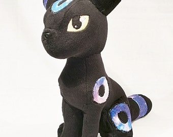 Shiny Galaxy Umbreon - Cute Pokemon Themed Plushie - Original Handmade Pokemon Fanart Plush *Made to Order * - Phosphorescent eyes available