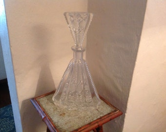 Unusual vintage cut crystal decanter