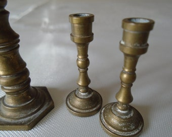 miniature brass candlesticks x 3  ideal dolls house deco