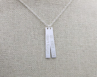Dainty Roman Numeral Necklace, Dainty Personalized Gold Bar Silver Bar Necklace, words Long Charm, Bridesmaid Gift