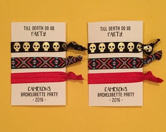 bachelorette party favor hair ties // till death do us PARTY // custom