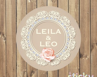 Personalized Wedding Stickers, Wedding Labels, Wedding Tags, Favor Stickers, Christening Stickers, Custom Stickers, Wedding Favours