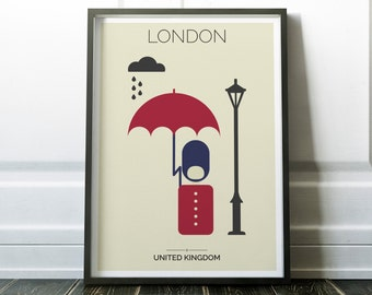 London Print, Queen's Soldier under Rain, London Wall Art, London Poster, London Eye Print, Travel Print, Travel Wall Art, Urban Print