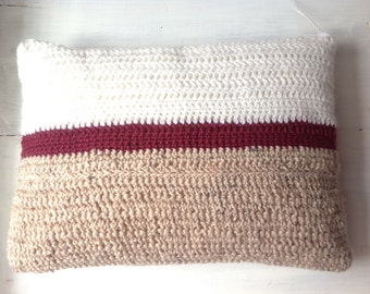 Crochet stripe calico cushion