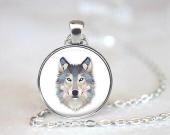 Geometric Wolf Glass Pendant, Photo Glass Necklace, Glass Keychain, Glass Jewelry