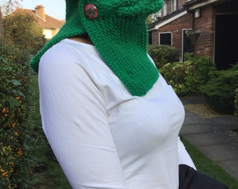 Green neck warmer with pink buttons