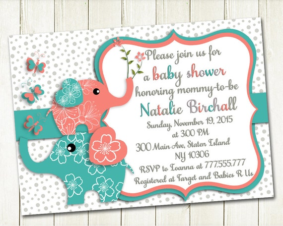 Coral turquoise elephant baby shower printable invitation baby like this item negle Images