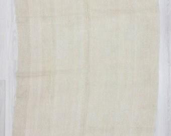 "5'4""x8' (162x240cm) Vintage handwoven natural organic Turkish hemp kilim rug,FREE SHİPPİNG"