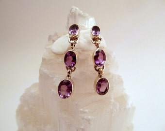 Long AAA Faceted Purple Amethyst Sterling Silver Earrings