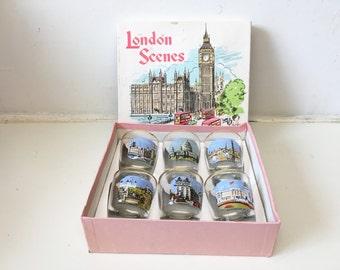 Mid-Century Vintage Retro 1950s Shot Glasses London Scenes Mad Men Style Set of Six 6 Souvenir Travel