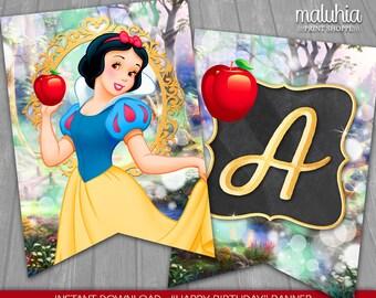 Snow White Birthday Banner - INSTANT DOWNLOAD - Disney Princess Snow White Digital Printable - Snow White Happy Birthday Pennant