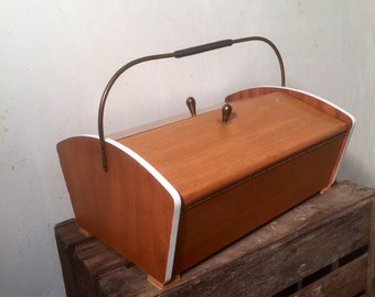 Vintage sewing box, sewing box, mid century