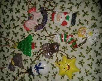 clay christmas ornaments, set of 9