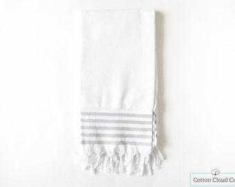 SALE %35 Luxury White Gray Stripe Bath Towel   Beach Towel   Natural Cotton   Eco Friendly   Turkish Towel  