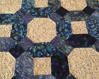 Feeling the Blues Lap Quilt, Hand Made Patchwork Quilt, Blue Quilted Throw