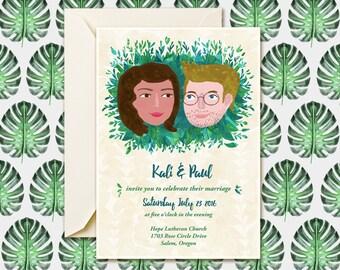 Tropical Wedding Invitation, Destination Wedding, Jungle Invitation, Forest Wedding Invite, Custom Wedding Invitation, Wedding Illustration